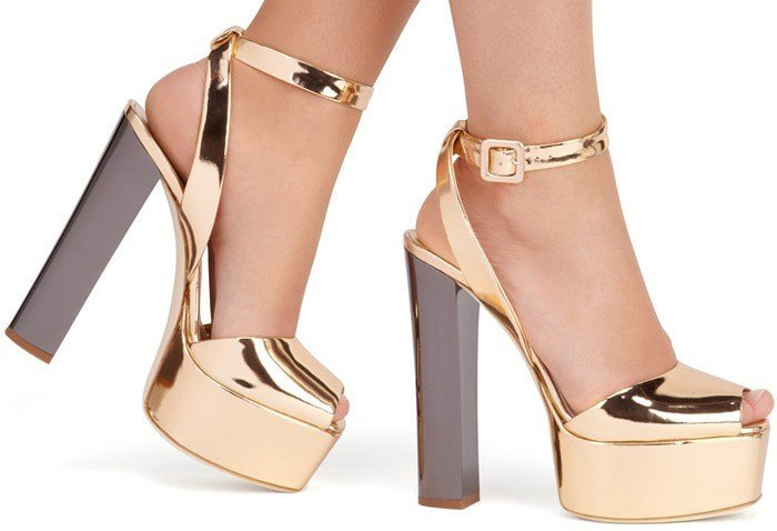 Giuseppe Zanotti Mirrored-leather platform Betty sandals
