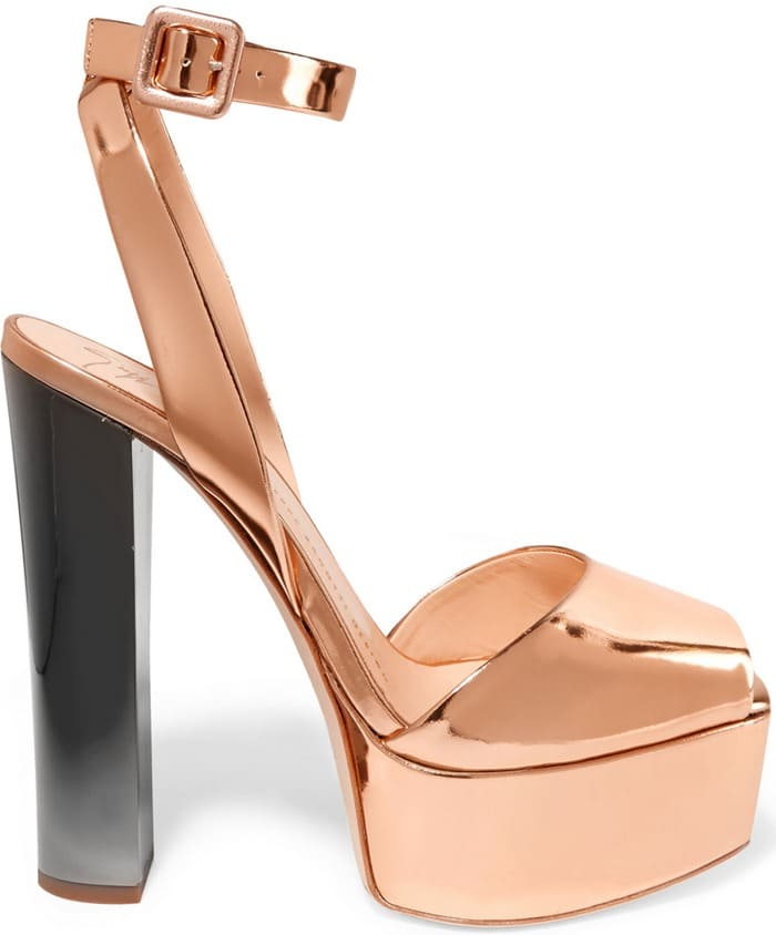 Giuseppe Zanotti Mirrored-leather platform sandal