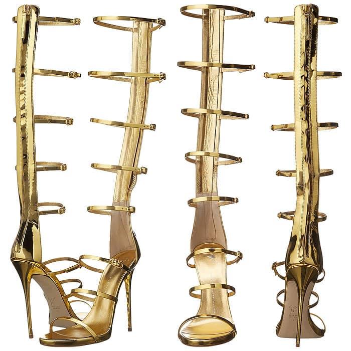 Giuseppe Zanotti gold knee-high sandals