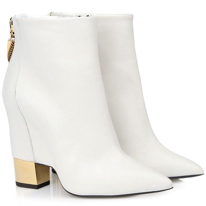 Giuseppe Zanotti white ankle boots gold heels