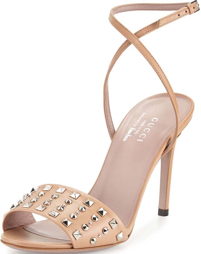Gucci Coline Studded-Leather Ankle-Strap Sandal in Camilia