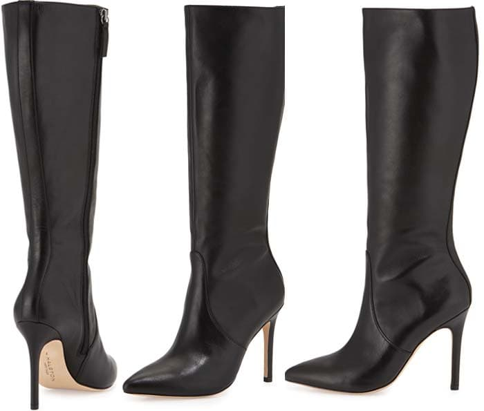 Halston Heritage 'Amanda' Leather Knee Boot in Black