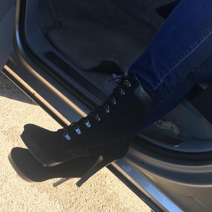 Hiking Boots With High Heels in Black