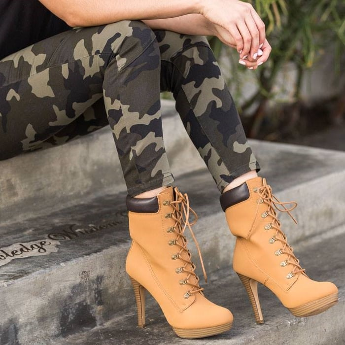 High Heel Hiking Boots In Black Camel And Camo For 10 74