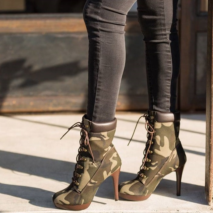 Hiking Boots With High Heels In Black Camel And Camo For
