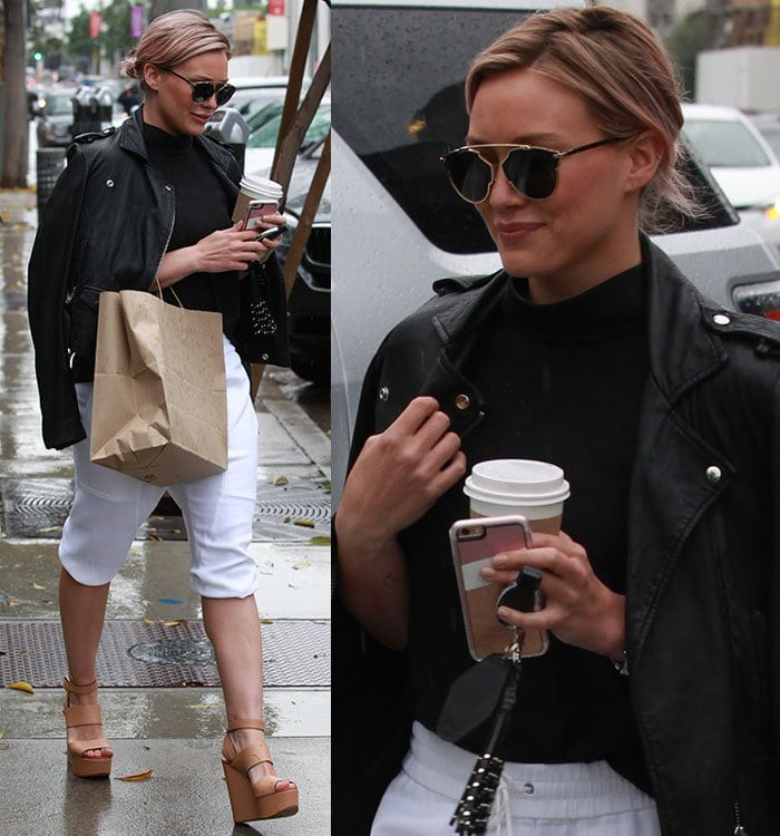 Hilary-Duff-leather-jacket-high-neck-top-jogger-shorts