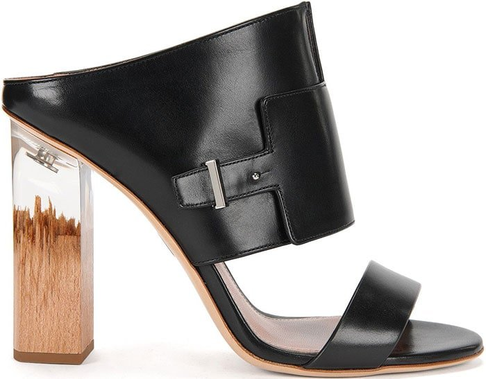 Boss Bespoke Wood and Transparent Heel Leather Sandal