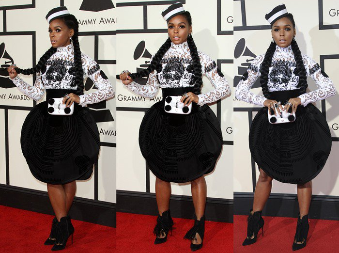 Janelle Monae wears a black-and-white Jean Paul Gaultier ensemble on the red carpet of the Grammys