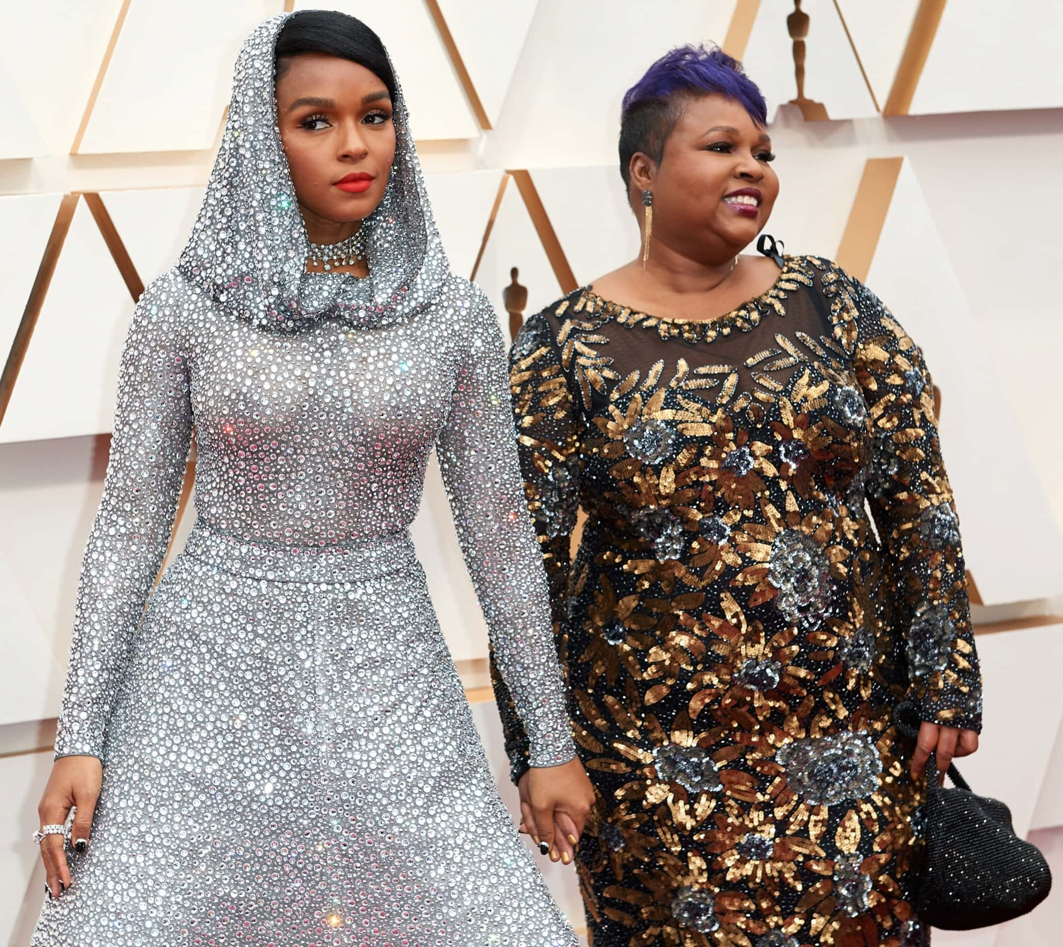 Janelle Monáe with her mom Janet at the 2020 Academy Awards