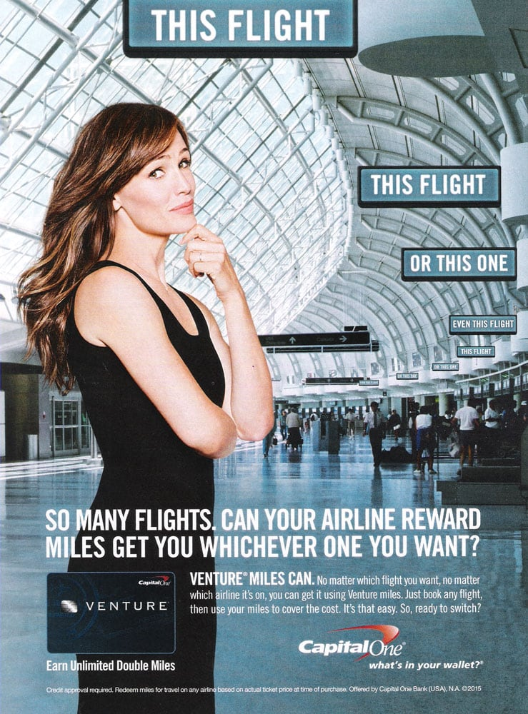 """Jennifer Garner promotes Capital One Financial's credit card services by asking the question, """" What's in Your Wallet?"""""""