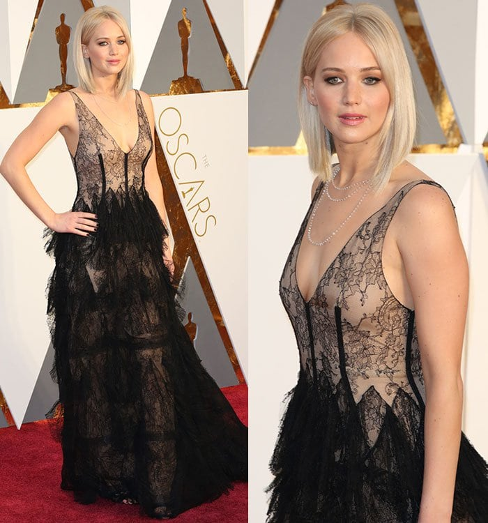 Jennifer accessorized with a Chopard necklace to draw further attention to her décolletage
