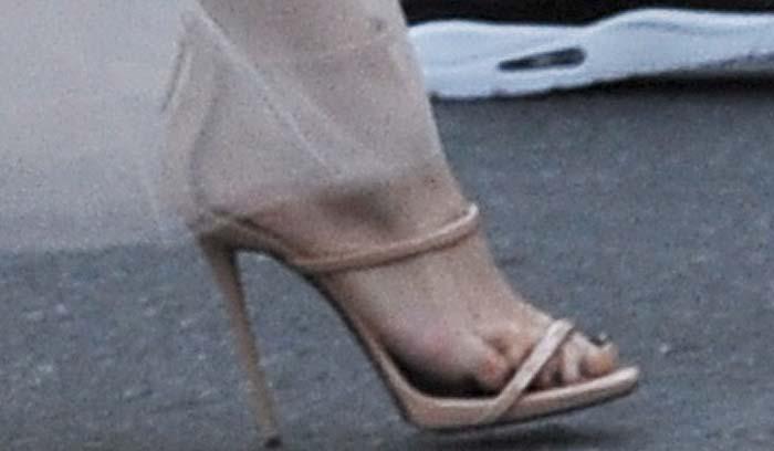 Jennifer Lopez's feet in nude patent Giuseppe Zanotti sandals