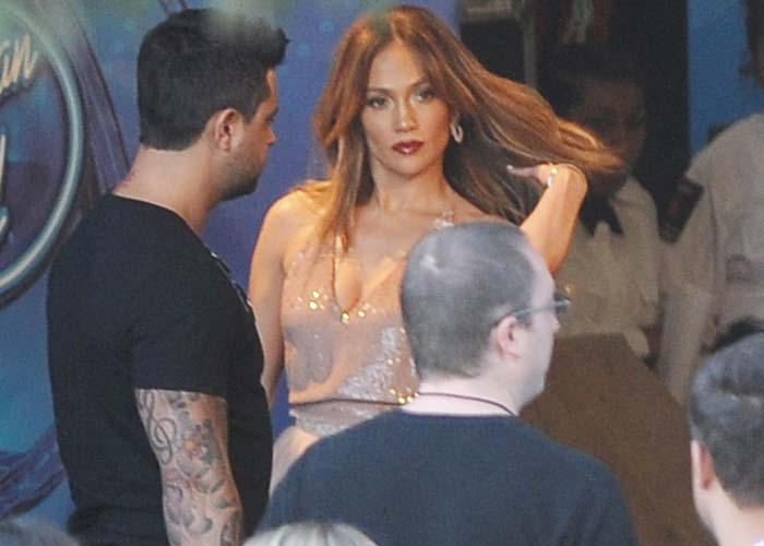 """Jennifer Lopez mills around backstage at the """"American Idol"""" finale show in Los Angeles"""