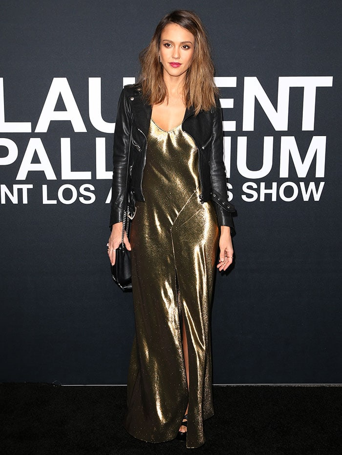 Jessica Alba wears her hair down at the 2016 Saint Laurent at the Palladium event
