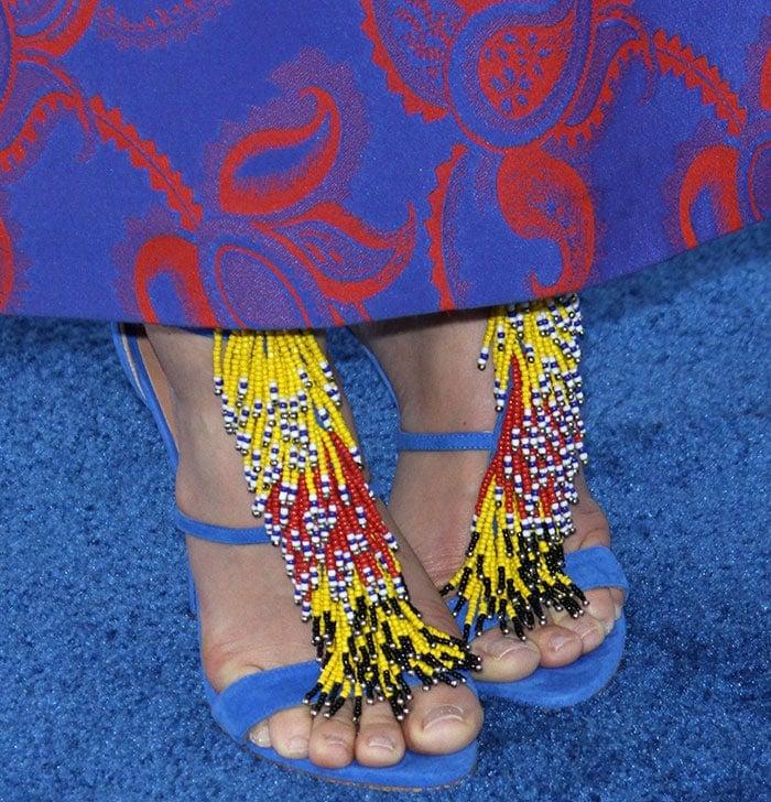 "Jessica Biel's feet in multi-colored suede ""Iliana"" sandals"