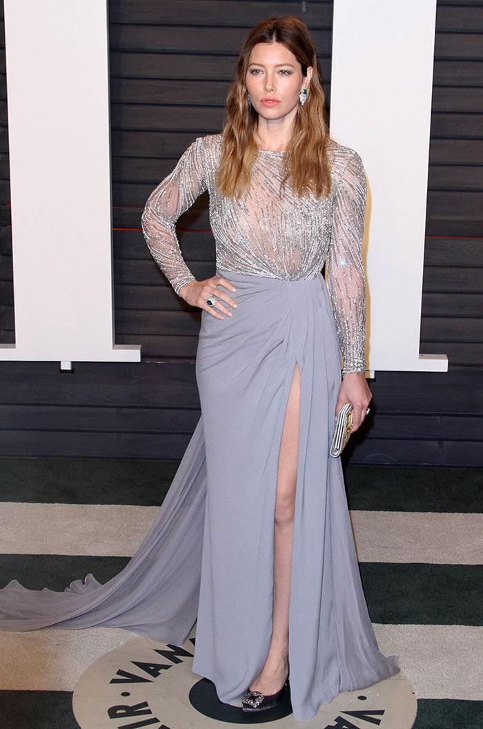 Jessica Biel shows off her legs in an embellished Zuhair Murad dress