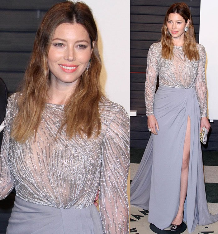 Jessica Biel keeps things both sexy and modest somehow in a Zuhair Murad dress