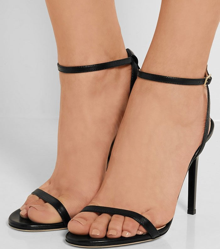 Jimmy Choo Minny Ankle-Strap Sandals Black Leather
