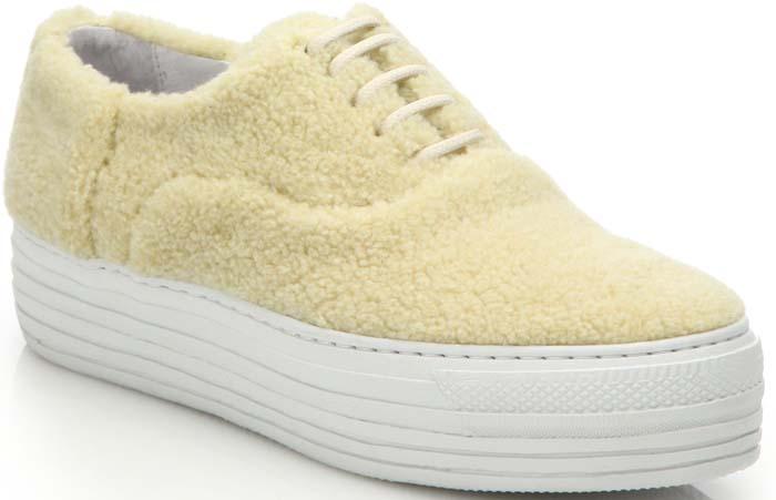 Joshua Sanders Shearling Double-Sole Platform Sneakers in Cream