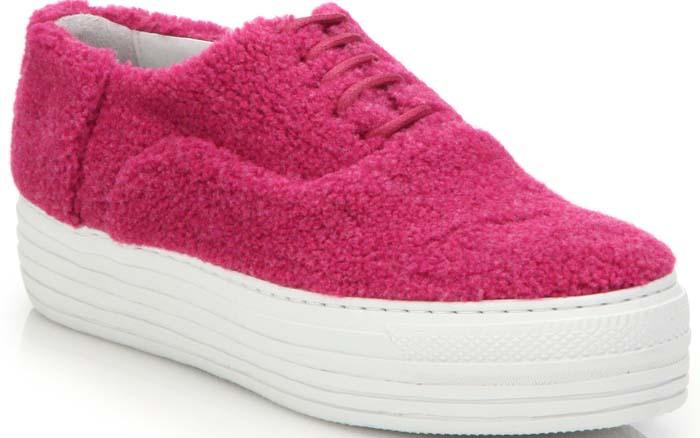Joshua Sanders Shearling Double-Sole Platform Sneakers in Pink