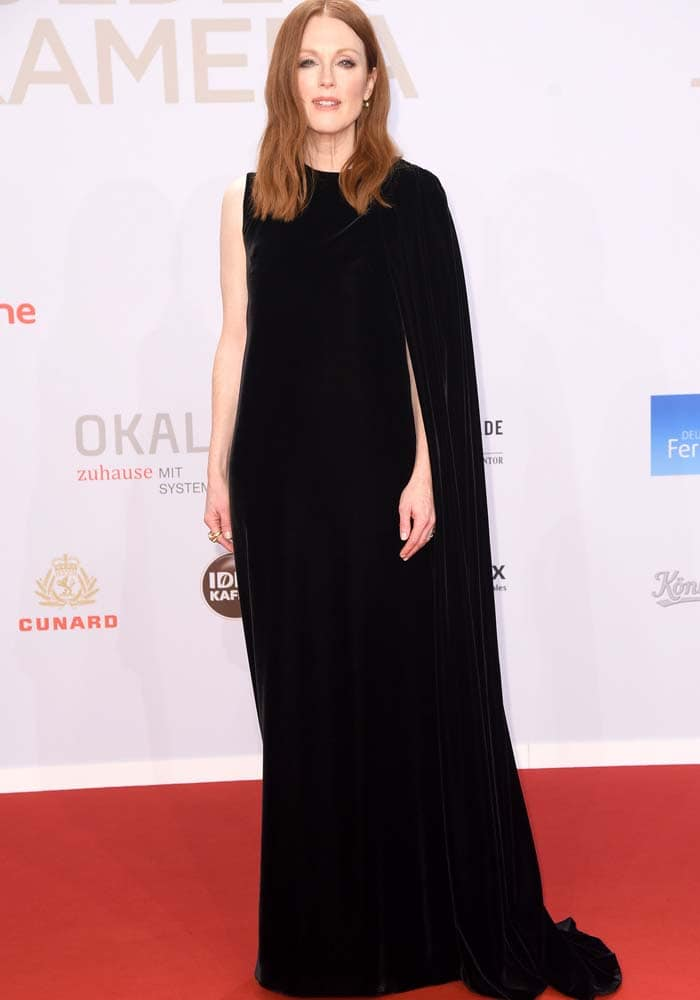 Julianne Moore wears a Valentino Couture gown on the red carpet in Germany