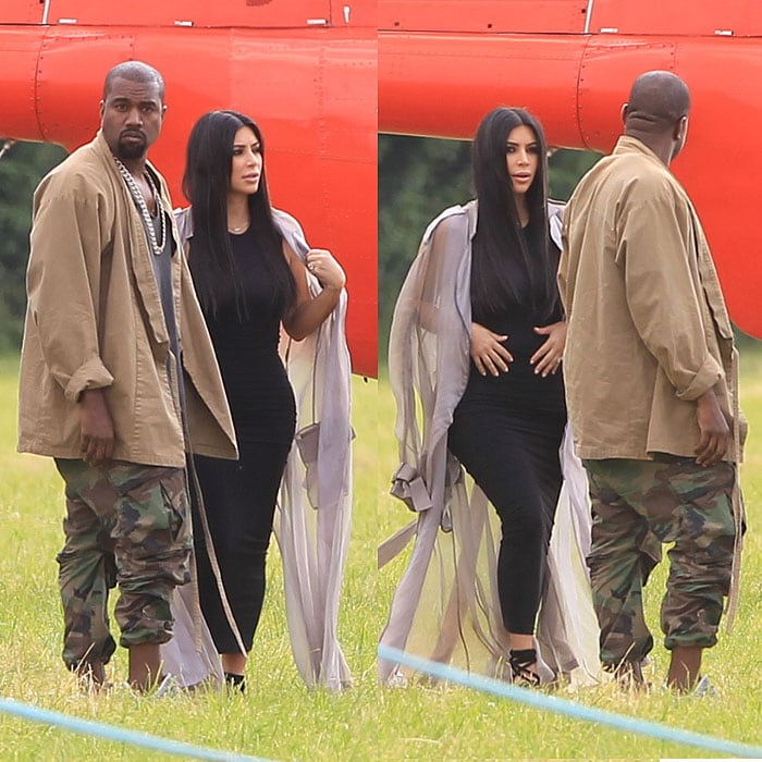 Kanye West and Kim Kardashian arriving on a helicopter at the 2015 Glastonbury Music Festival in Somerset, England, on June 27, 2015.