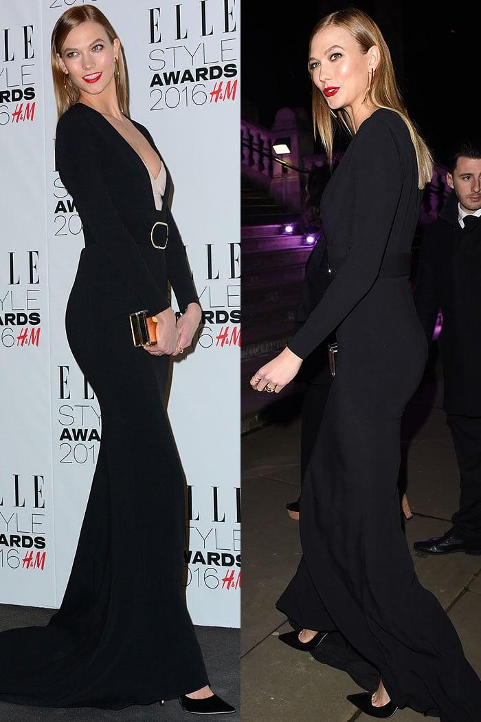 Karlie Kloss wears a black floor-length Stella McCartney dress over a nude corset