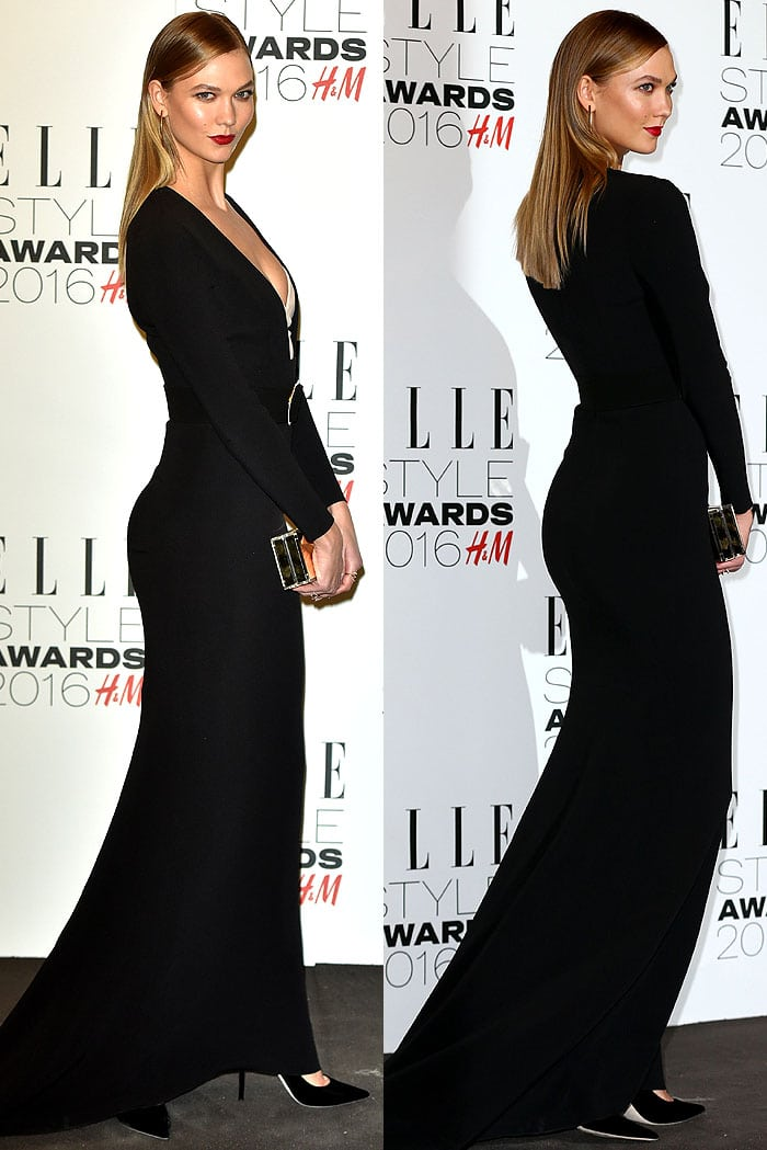 Karlie Kloss wears a black Stella McCartney gown to the Elle Style Awards
