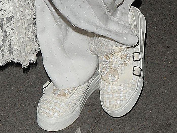 Karlie Kloss Alexander McQueen 3 buckle sneakers