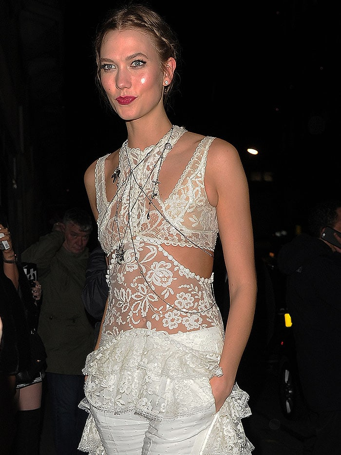 Karlie Kloss wears her hair in braids as she arrives at the Universal Music After-Party following the 2016 BRIT Awards
