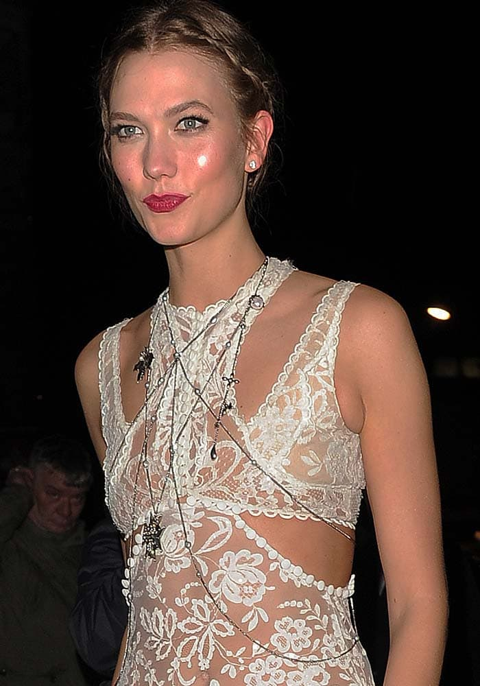 Karlie Kloss wears her hair back for a post-BRIT Awards party