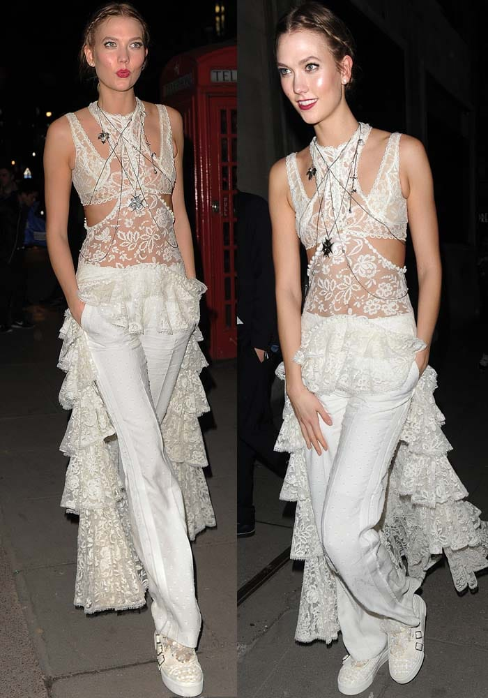 Karlie Kloss wears an all-white Alexander McQueen look at a post-BRIT Awards party