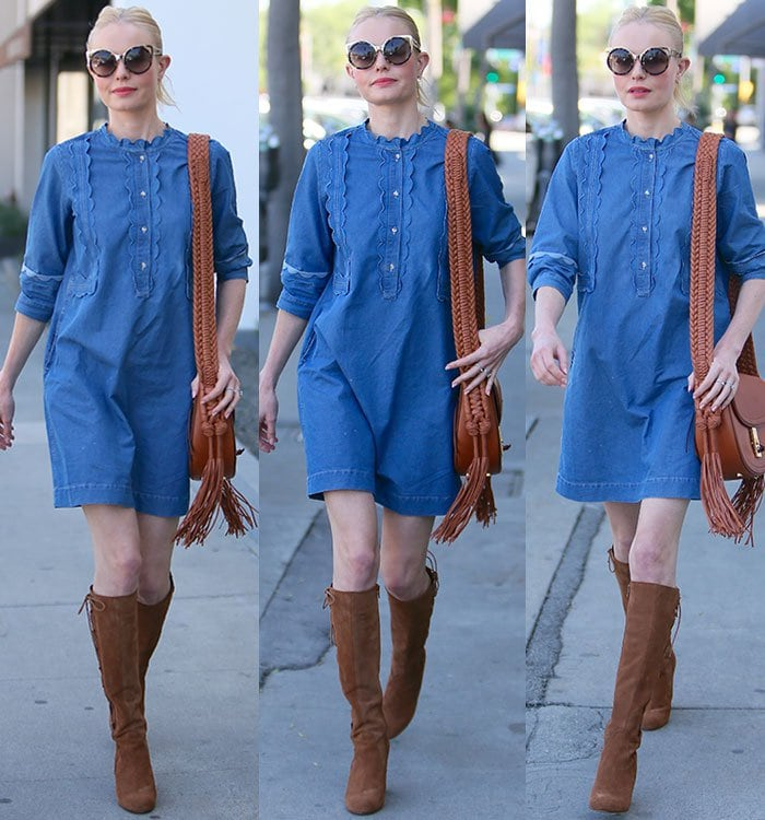Kate Bosworth accessorizes her chambray dress with a fringed bag, oversized sunglasses and knee-high suede boots
