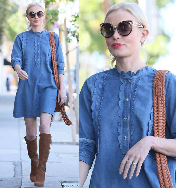 Kate Bosworth wears a MiH Jeans denim mini-dress out and about