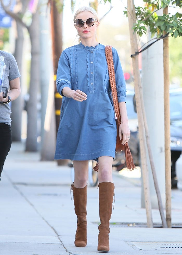 Kate Bosworth wears a chambray mini-dress as she heads to a salon appointment in Beverly Hills