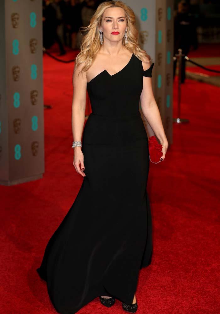 Kate Winslet wears an Antonio Berardi dress on the red carpet