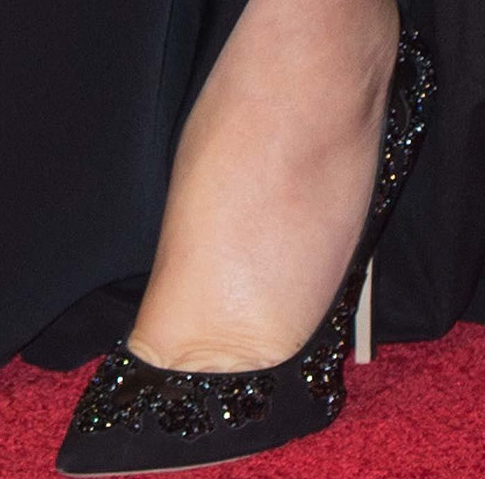 Kate Winslet's feet in glittery Jimmy Choo pumps