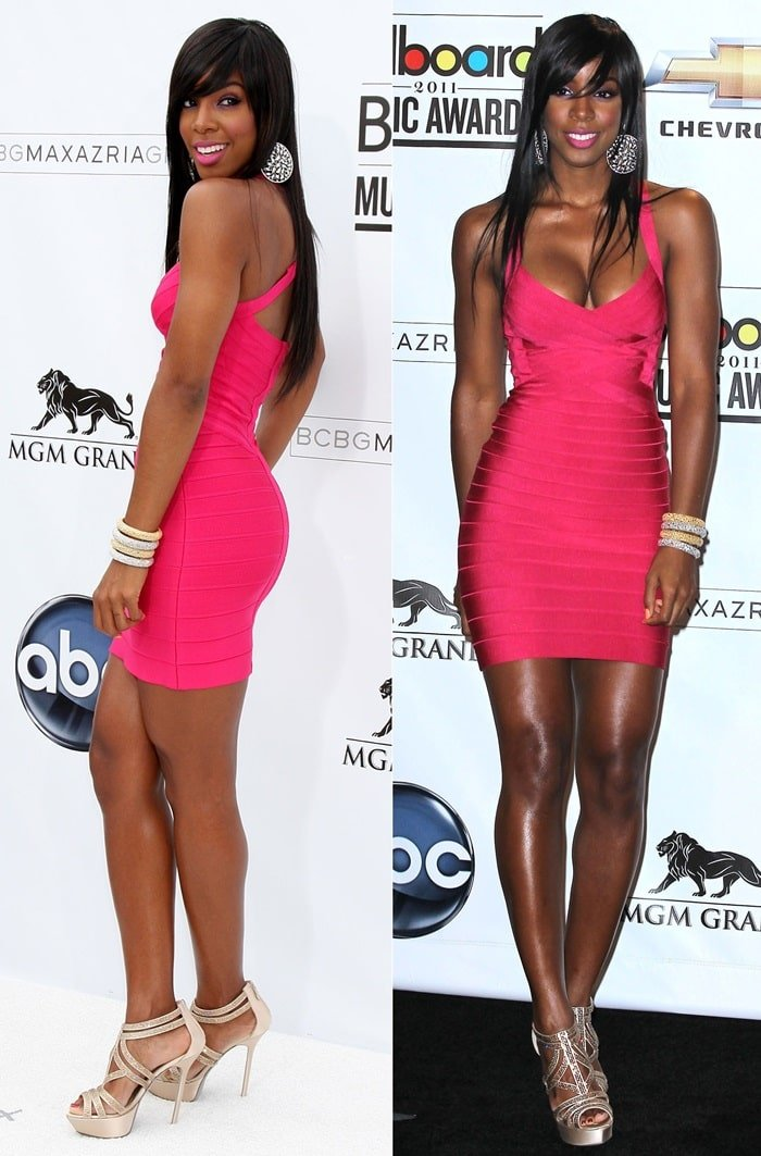 Kelly Rowland was on top of her game at the 2011 Billboard Music Awards in a skintight pink cocktail dress by Herve Leger at the MGM Grand Garden Arena in Las Vegas on May 22, 2011