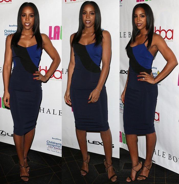 Kelly Rowland wore a leather-trimmed stretch-ponte dress from Victoria Beckham