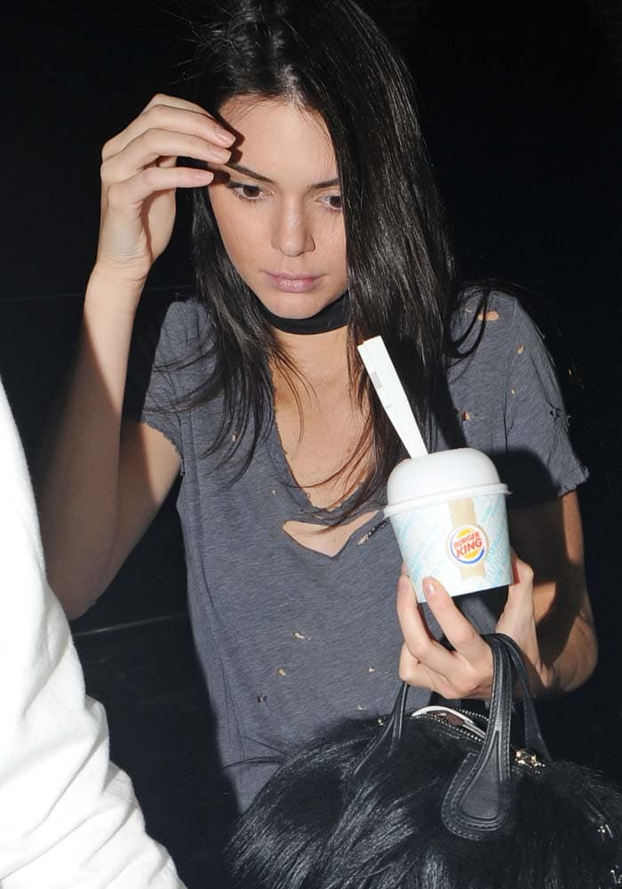 Kendall Jenner wears her hair down as she stops by Burger King