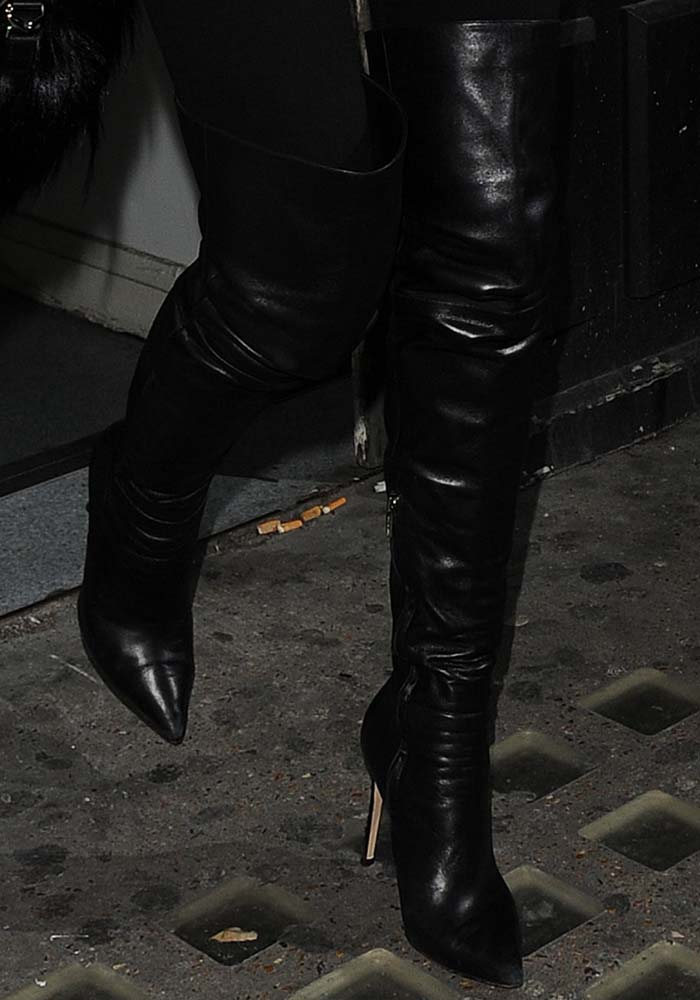 Kendall Jenner wears a pair of black Gianvito Rossi over-the-knee boots