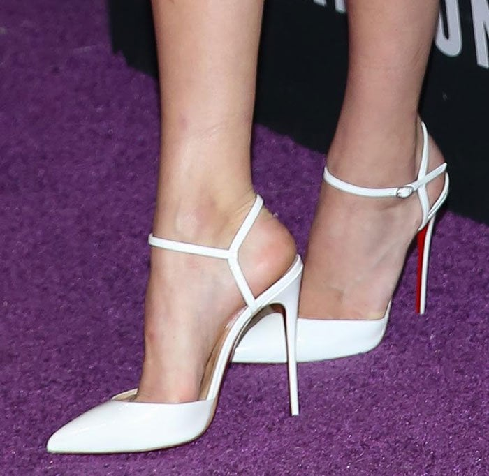 Kendall-Jenner-Christian-Louboutin-white-ankle-strap-pumps