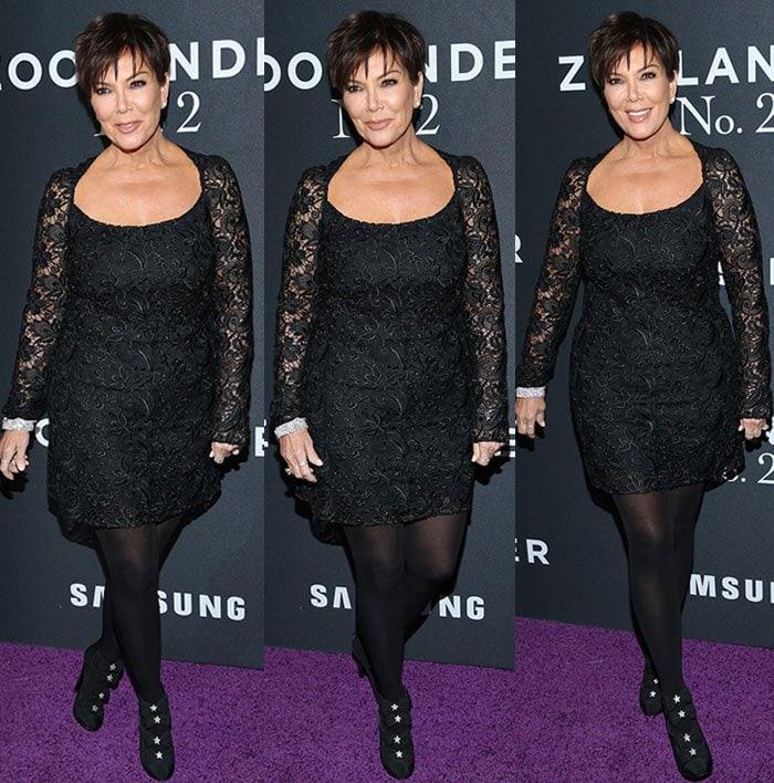 Kris-Jenner-black-lace-mini-dress-tights-booties