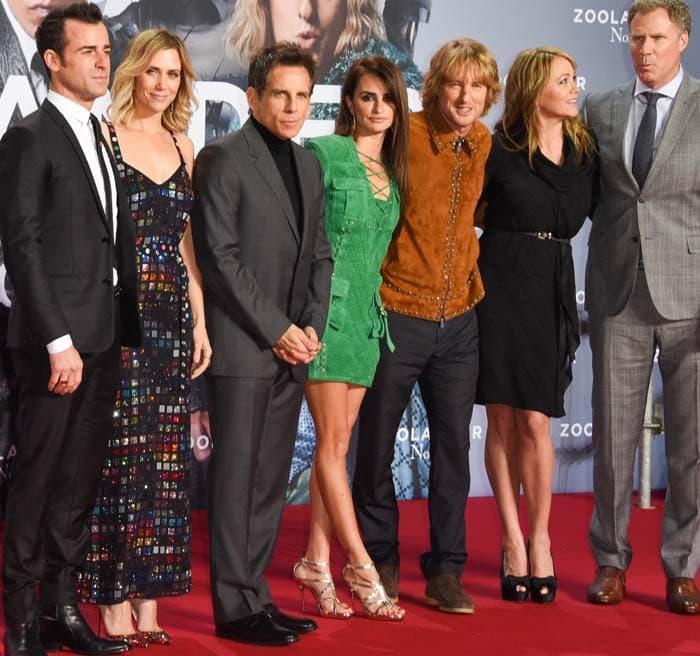 Justin Theroux, Kristen Wiig, Ben Stiller, Penelope Cruz, Owen Wilson, Christine Taylor, and Will Ferrell attend the Berlin fan screening of the film 'Zoolander No. 2'