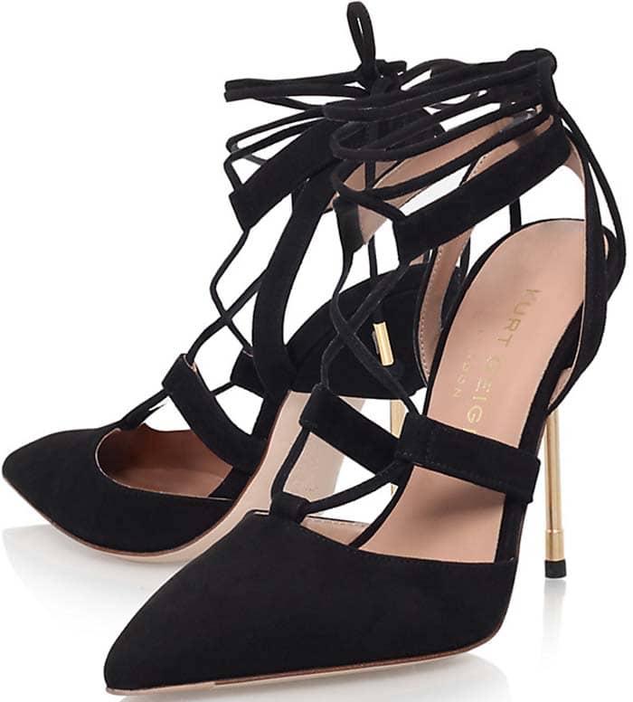 Kurt Geiger 'Barnes' Lace Up Stiletto Court Shoes in Black Suede