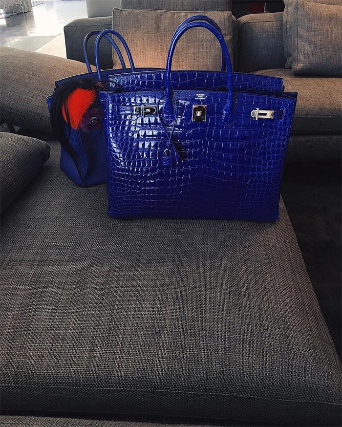 Kylie Jenner blue Birkin bag