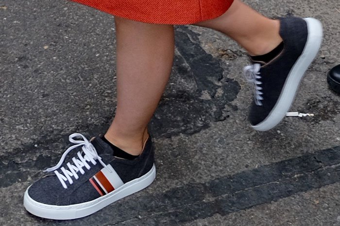 Kylie Jenner gray Adidas sneakers