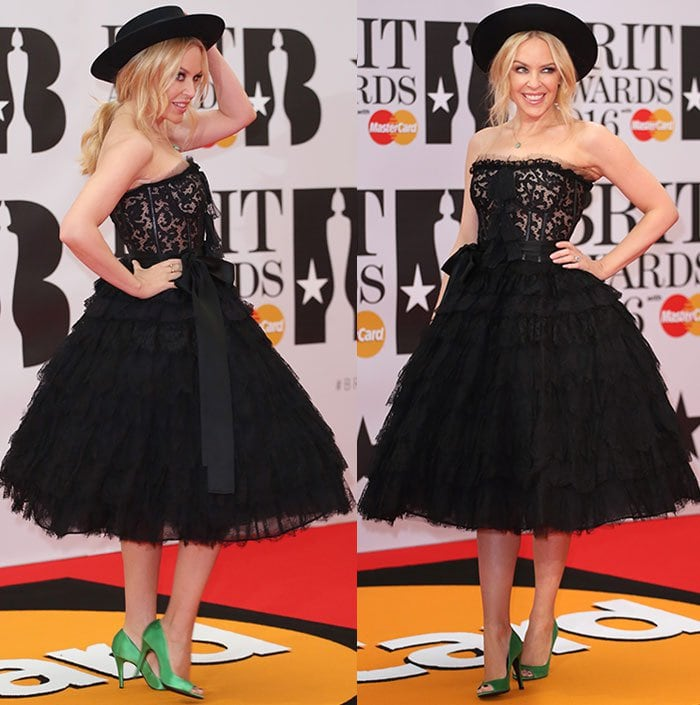 Kylie-Minogue-Dolce-and-Gabbana-strapless-lace-ruffled-dress