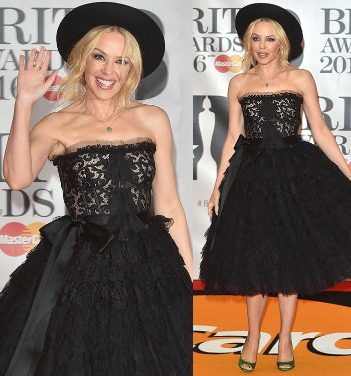 Kylie-Minogue-hat-black-lace-ruffled-dress
