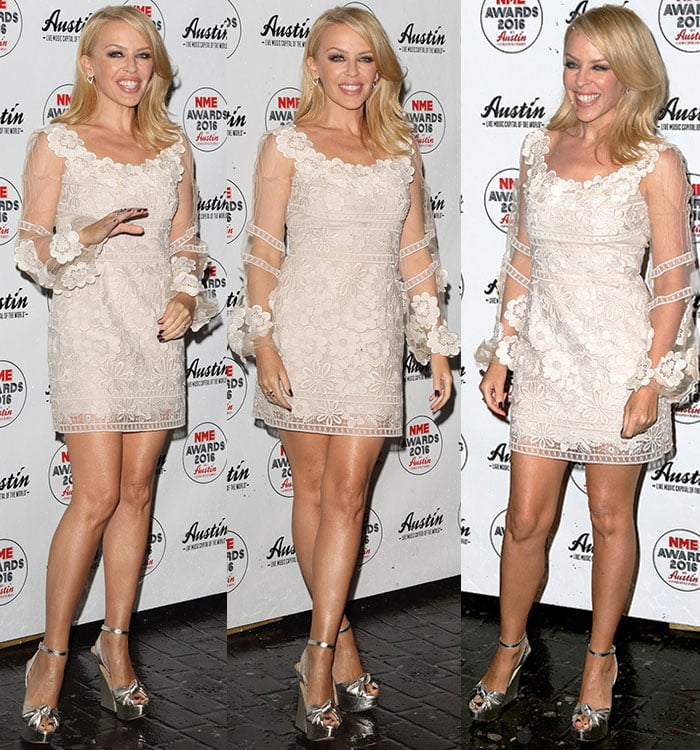 Kylie-Minogue-legs-white-floral-lace-embroidered-dress